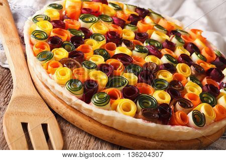 Beautiful Vegetable Pie With Carrots, Zucchini, Eggplant And Beets Closeup. Horizontal