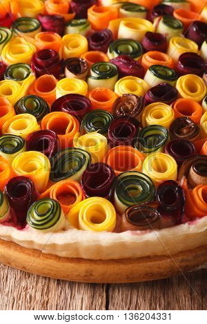 Pie Of Summer Vegetables: Carrots, Beets, Zucchini And Eggplant Closeup. Vertical