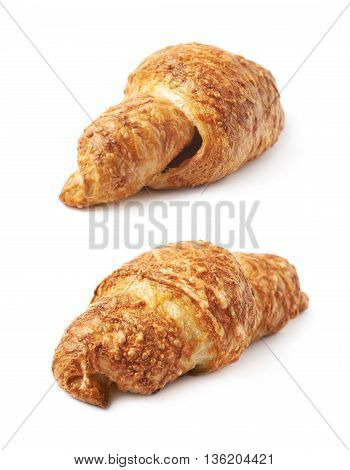 Cheese croissant isolated over the white background, set of two different foreshortenings