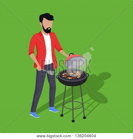 Father preparing barbecue design flat. Dad prepares a barbecue isolated on a green background. Vector illustration