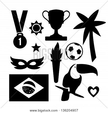 Set of Brazilian symbols. Sport icons. Black graphic objects. Vector illustrations isolated on white background. Flat design.