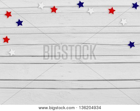 Confetti stars on wooden background. 4th July Independence day card invitation in usa flag colors. Top view empty space.
