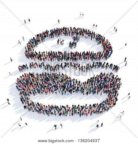 Large and creative group of people gathered together in the shape of hamburger, fast food, food, image. 3D illustration, isolated against a white background.