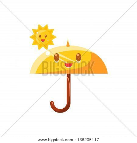 Umbrella Hot Under Sun Cute Childish Style Bright Color Design Icon Isolated On White Background
