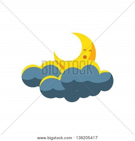 Moon Crescent Sleeping In Dark Clouds Cute Childish Style Bright Color Design Icon Isolated On White Background