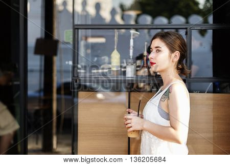 Woman Drinks Coffee Summer Sightseeing Concept