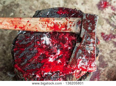 a steel Bloody Ax. A close up