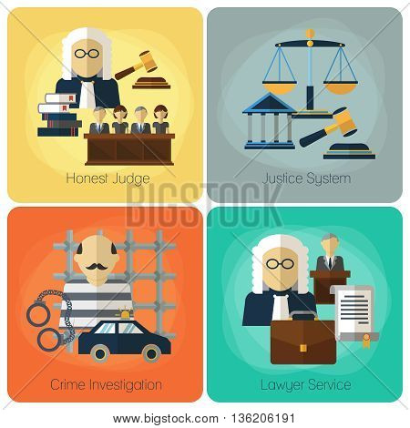 Legal services, law and order, justice vector flat concept set. Honest judge, justice system, crime investigation, lawyer service, banner set illustration