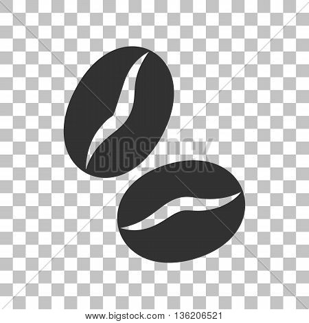 Coffee beans sign. Dark gray icon on transparent background.