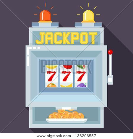 Casino slot gambling machine. Vector UI game template. Slot  casino, game gambling, machine play, jackpot chance illustration