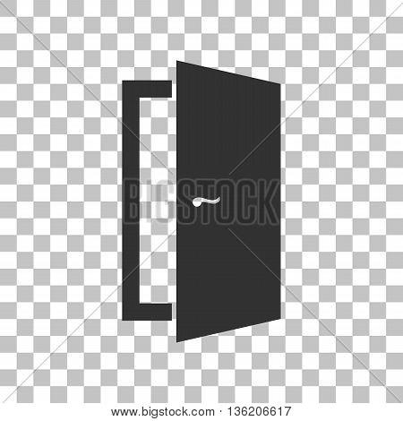 Door sign illustration. Dark gray icon on transparent background.