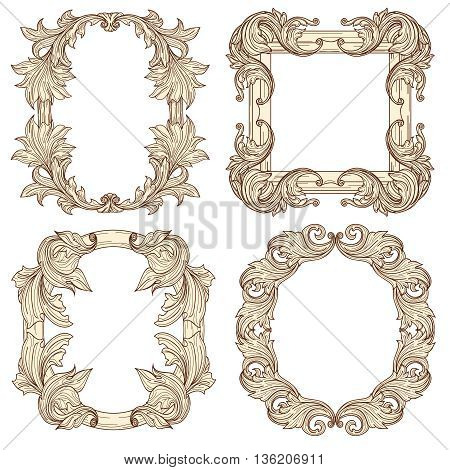 Picture frames in baroque antique style. Vector engraving retro frames. Frame vintage decorative, retro antique frame, picture frame illustration