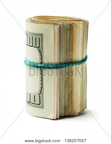 Rolled up Old US Dollar Bills on White Background