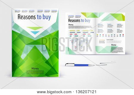 Color application booklet template design for corporate identity with statistics and infographics. Cover layout and infographics. Business stationery.
