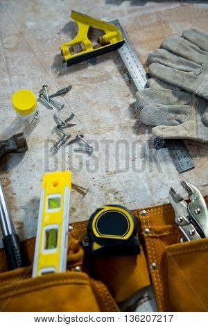 Zoom of carpenters tools on the table