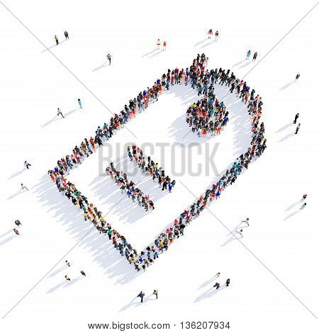 Large and creative group of people gathered together in the shape of tag, image. 3D illustration, isolated against a white background.