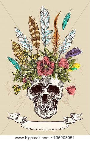 Beautiful hand drawn illustration boho flowers, skull, feathers.  Decorative poster boho style.