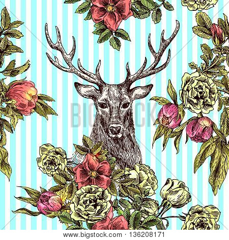 Boho Style hand drawn seamless patternr with deer and flowers. Boho vector illustration. Use for t-shirt prints, posters, boho wedding, postcards.