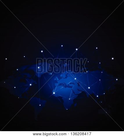 Network Global over blue background. vector stock