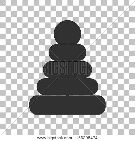 Pyramid sign illustration. Dark gray icon on transparent background.