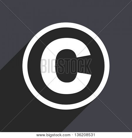 Flat design gray web copyright vector icon