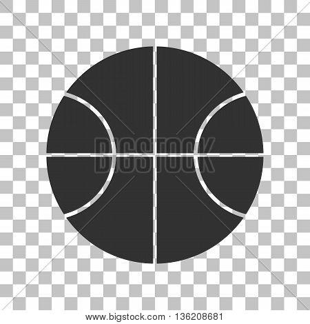 Basketball ball sign illustration. Dark gray icon on transparent background.