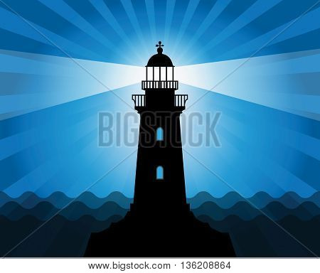 Lighthouse silhouette on abstract sea background, vector illustration