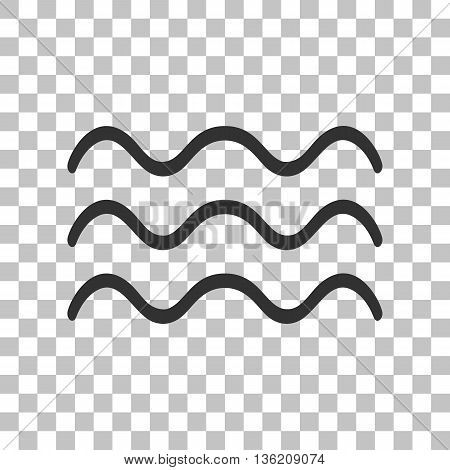 Waves sign illustration. Dark gray icon on transparent background.