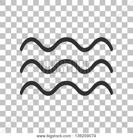 Waves sign illustration. Dark gray icon on transparent background.