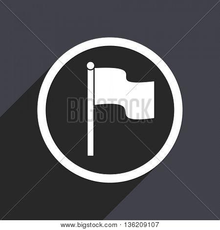 Flat design gray web flag vector icon