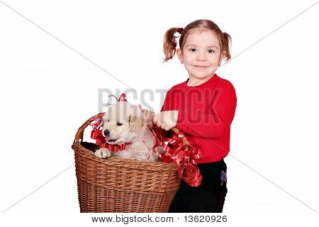 little girl holding basket with puppy