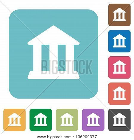 Flat bank icons on rounded square color backgrounds.