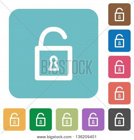 Flat unlocked padlock icons on rounded square color backgrounds.