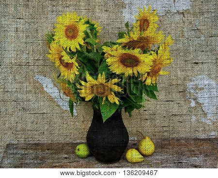 Still life with sunflowers and pears on the background of the old house wall - Photo made with canvas texture effect