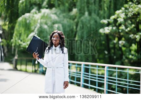 Happy Beautiful Black African American Girl With Hat Graduates