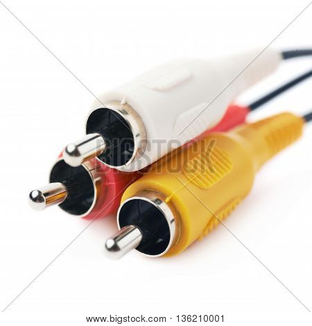 RCA plugs cable for composite video and stereo audio isolated over the white background