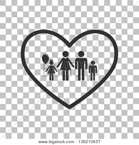 Family sign illustration in heart shape. Dark gray icon on transparent background.