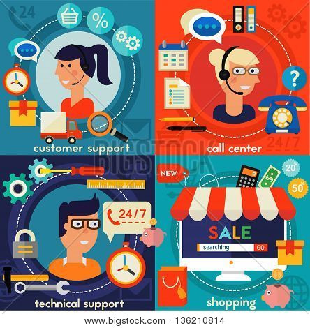 Online Shopping, Customer and Technical Support and Call Senter concept banners. Flat style vector illustration online web banners