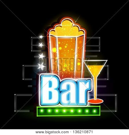 easy to edit vector illustration of Neon Light signboard for Drink Bar