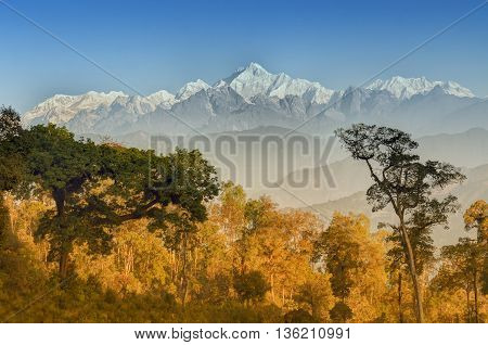 Beautiful view of Silerygaon Village with Kanchenjunga mountain range at the background moring light at Sikkim India