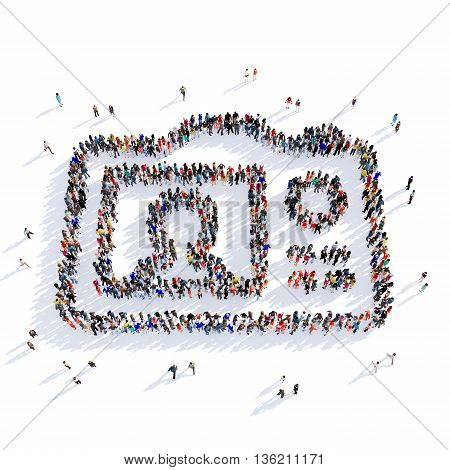 Large and creative group of people gathered together in the shape of a camera image. 3D illustration, isolated against a white background.