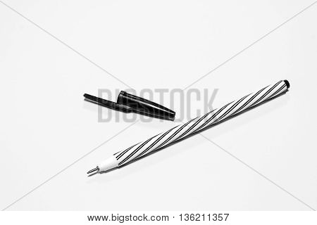 a black pen isolated on white background