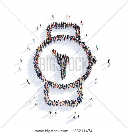 Large and creative group of people gathered together in the shape of clock image. 3D illustration, isolated against a white background.