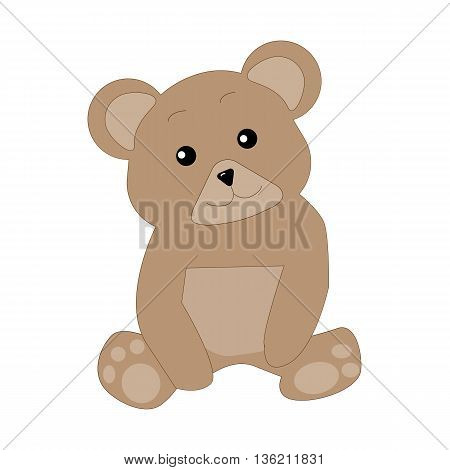 Cute Bear is sitting and looking forward. Vector illustration. EPS10