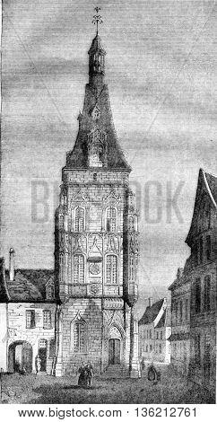 City Hotel Dreux, department of Eure et Loir, vintage engraved illustration. Magasin Pittoresque 1836.