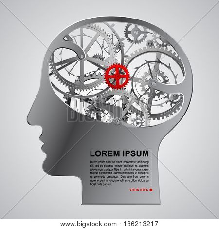 Human metallic head half face with brain gears. Techno symbol and Business Idea concept. Vector illustration