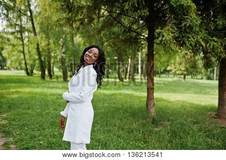 Portrait Of Stylish Black African American Girl Stay On Green Park