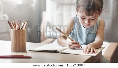Girl Drawing Imagination Creativity Concept