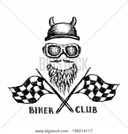 biker tattoo or emblemlogo hand drawn design elements. vector illustration