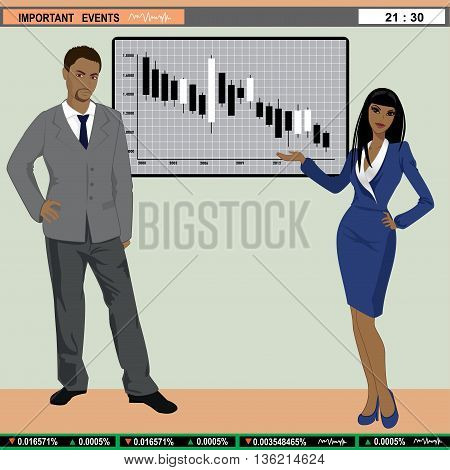 Vector illustration of TV finance news anchors